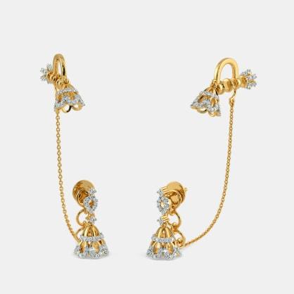 The Lillian Stud Chain Clips Earrings