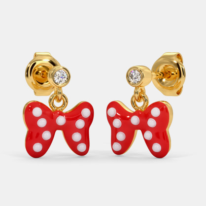The Polka Dot Bow Drop Earrings For Kids